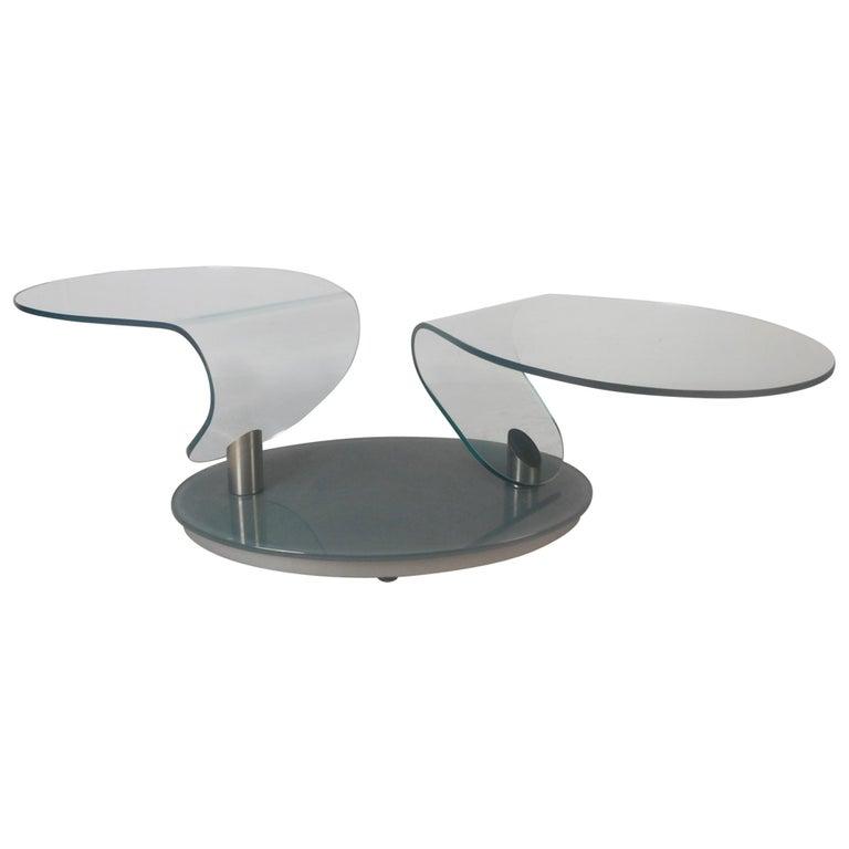 Mid Century Modern Free Form Swivel Gl Top Coffee Table