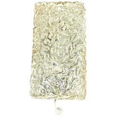 Ice Block Glass Sconces Vintage German 1960s Glashuette Limburg