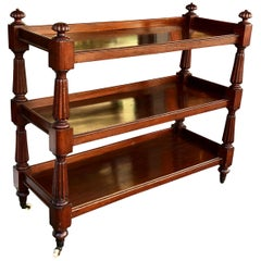 English Mahogany Three-Tier Trolley on Casters, circa 1840