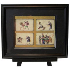 19th Century Chinese Hand-Painted Silk Collage of Chinese Tortures