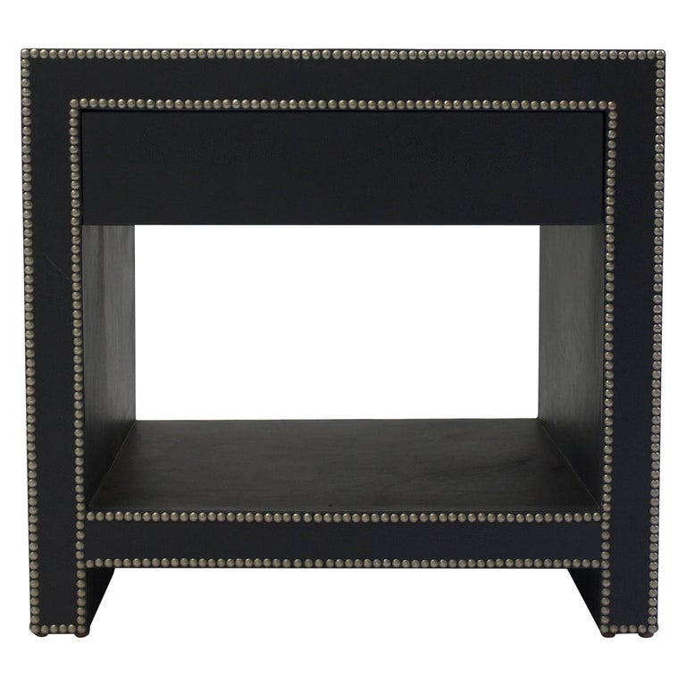 Leather Covered Bedside Table with Open Shelf Trimmed with Nailheads For Sale
