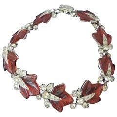 Vintage Harrice Simons Miller Pink Leaf Costume Bracelet