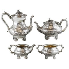 Antique Victorian Four Piece Sterling Silver Tea Set, London 1855
