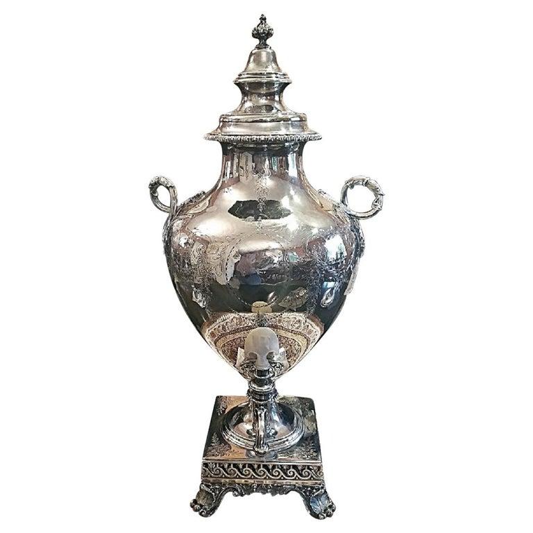 19th Century Elkington & Co. Silver Samovar For Sale