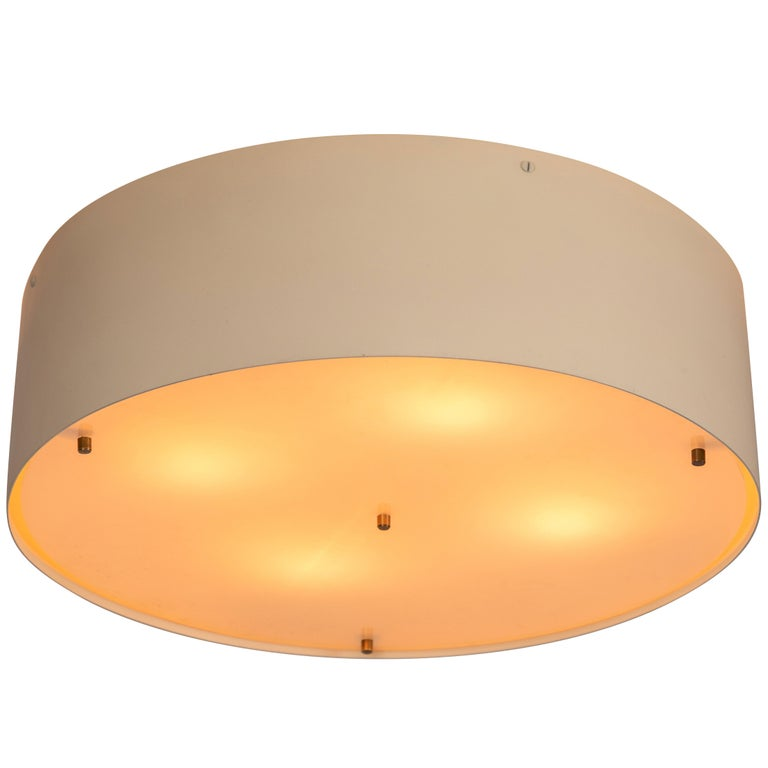 Large 1950s Jacques Biny Wall or Ceiling Light for Luminalite For Sale