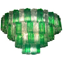 Venini Modern Emerald Green and Ice Color Murano Glass Chandelier or Flush Mount
