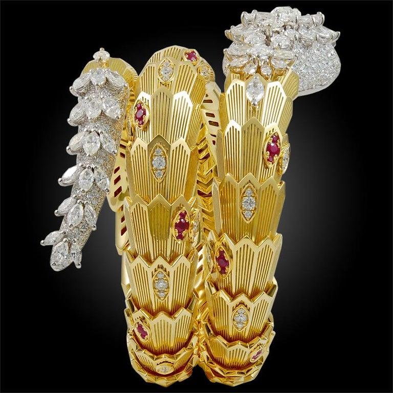 Round Cut Bulgari Diamond Ruby Gold Serpenti Bracelet For Sale