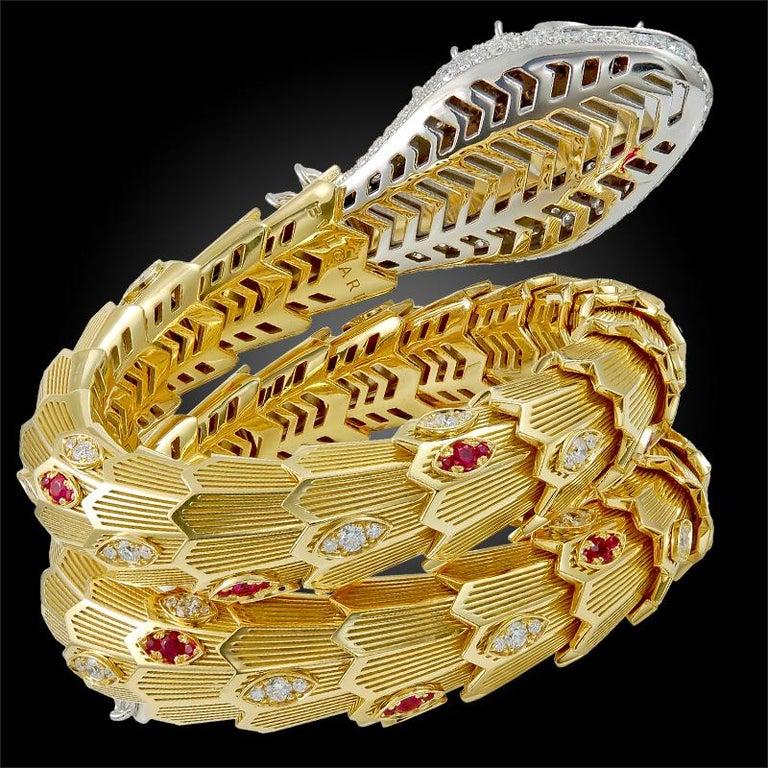 Bulgari Diamond Ruby Gold Serpenti Bracelet In Good Condition For Sale In New York, NY