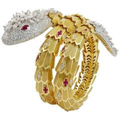 Bulgari Diamond and Ruby Serpenti Gold Bracelet