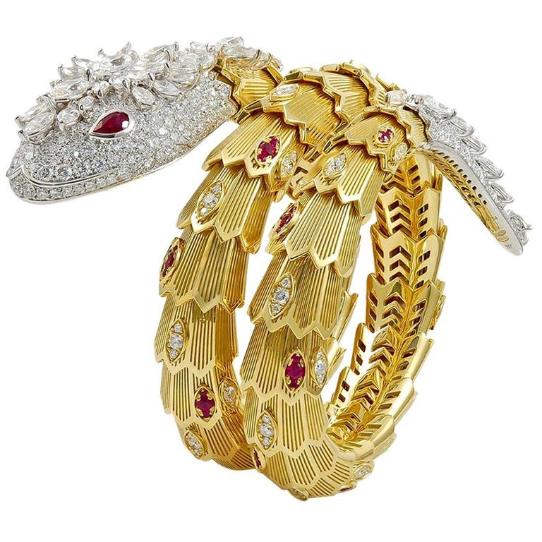 Bulgari Diamond Ruby Gold Serpenti Bracelet For Sale