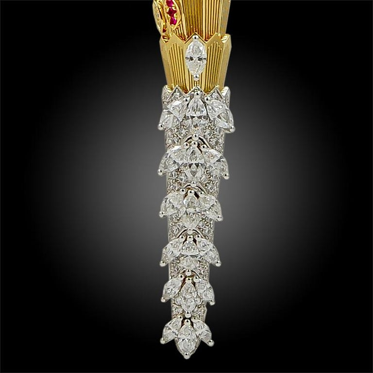 Round Cut Bulgari Diamond Ruby Gold Serpenti Necklace For Sale