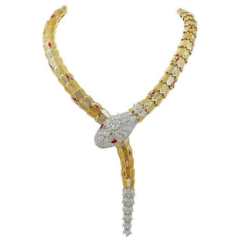 Bulgari Diamond Ruby Gold Serpenti Necklace For Sale