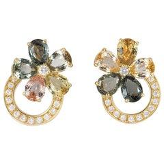 Bulgari Diamond and Sapphire Flower Earrings