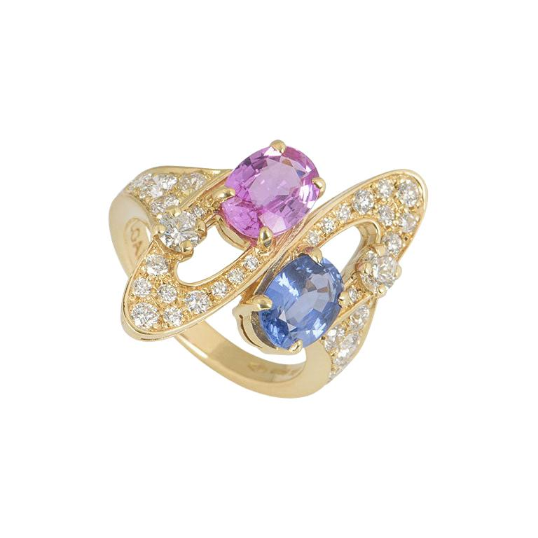 Bulgari Diamond and Sapphire Ring For Sale
