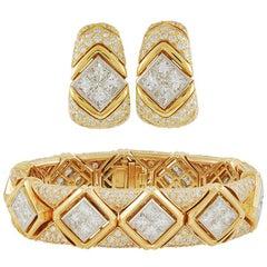 Bulgari Diamond Bracelet and Earrings
