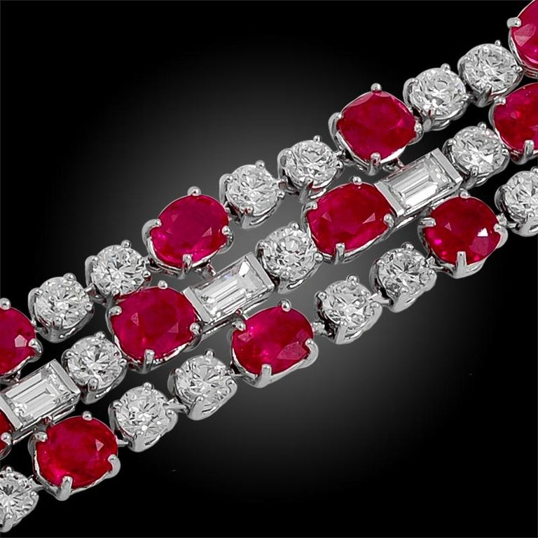 Round Cut Bulgari Diamond, Burma No Heat Ruby and Pink Sapphire Bracelet For Sale