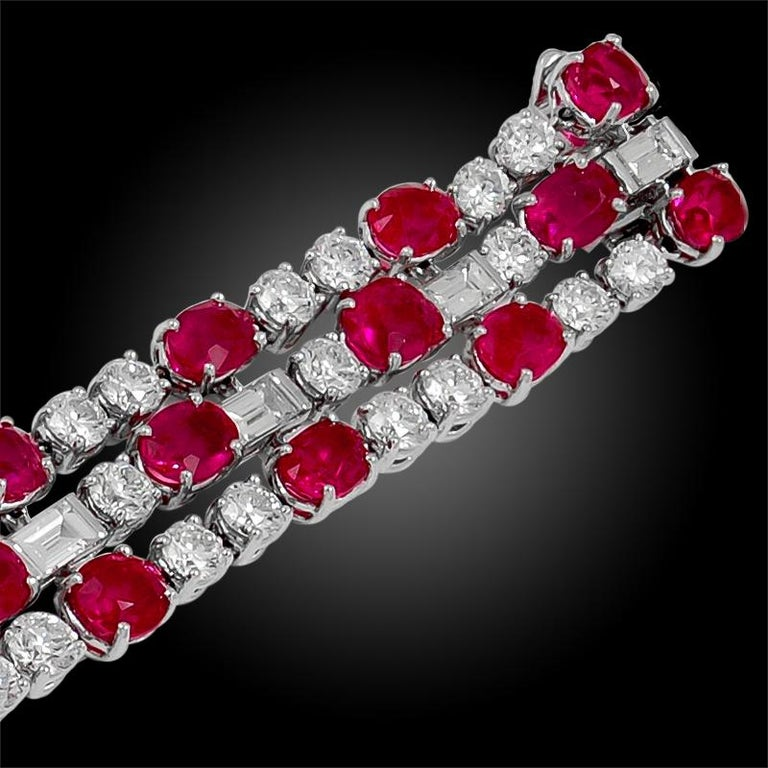 Bulgari Diamond, Burma No Heat Ruby and Pink Sapphire Bracelet In Good Condition For Sale In New York, NY