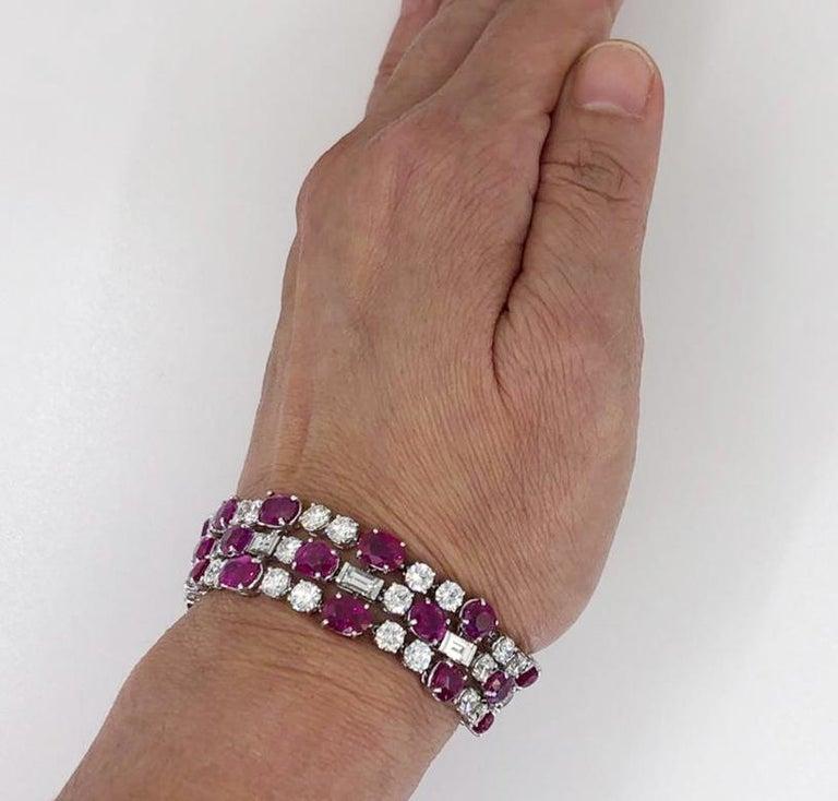 Bulgari Diamond, Burma No Heat Ruby and Pink Sapphire Bracelet For Sale 2