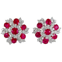 Bulgari Diamond Burma Ruby Earrings
