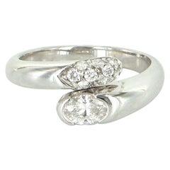 Bulgari Diamond Bypass Ring Estate 18 Karat Gold Designer Pre Owned Jewelry