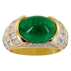 Bulgari Diamond Cabochon Emerald Yellow Gold Ring