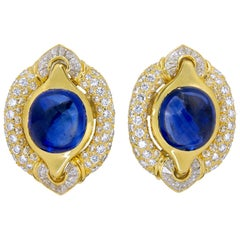 Bulgari Diamond Cabochon Sapphire Yellow Gold Earrings