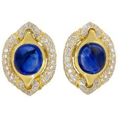 Bulgari Diamond Cabochon Sapphire Yellow Gold Earrings