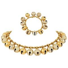 "Bulgari Diamond ""Campanile"" Bell Necklace and Bracelet"