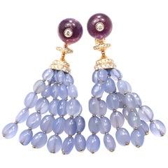 Bulgari Diamond Chalcedony Amethyst Yellow Gold Drop Earrings