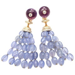 Bulgari Diamond Chalcedony Amethyst Yellow Gold Drop Earrings