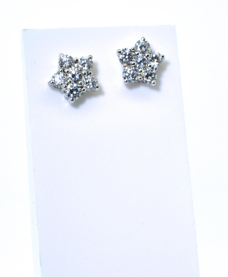 Bulgari diamond earrings.  The diamonds are very fine - as one would expect from this world famous jewelry house.  There are 10 diamonds amounting to 1.25 cts.  The brilliant cut stones are all colorless, F, and VVS, very very slightly included.