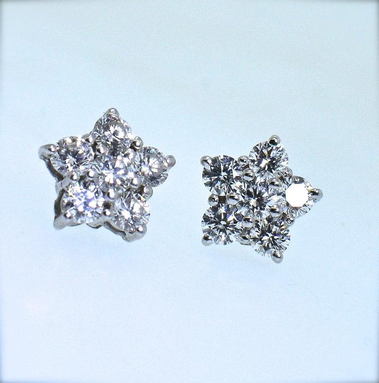 Women's or Men's Bulgari Diamond Cluster Earrings For Sale
