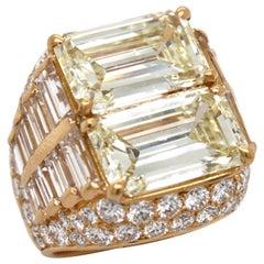 Bulgari Diamond Double Trombino Ring 10.16 Carat, circa 1970s