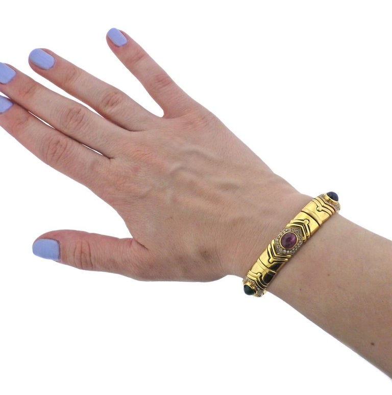 Bulgari Diamond Emerald Ruby Sapphire Gold Bracelet For Sale 1