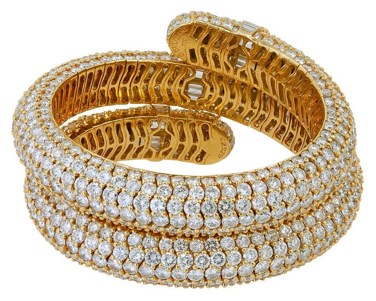 Emerald Cut Bulgari Diamond Flexible Bracelet For Sale