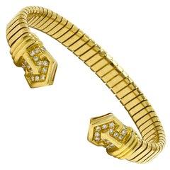 Bulgari Diamond Flexible Link Cuff Bangle Bracelet Bvlgari 18K Gold 1970s Estate