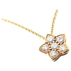 Bulgari Diamond Flower Yellow Gold Pendant Necklace