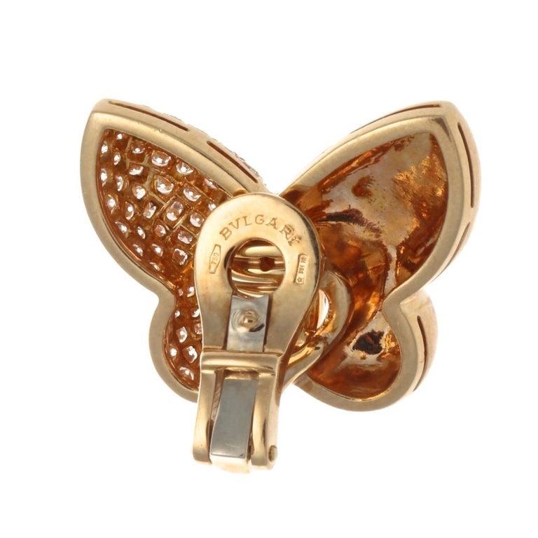 Contemporary Bulgari Diamond Gold Butterfly Earrings For Sale