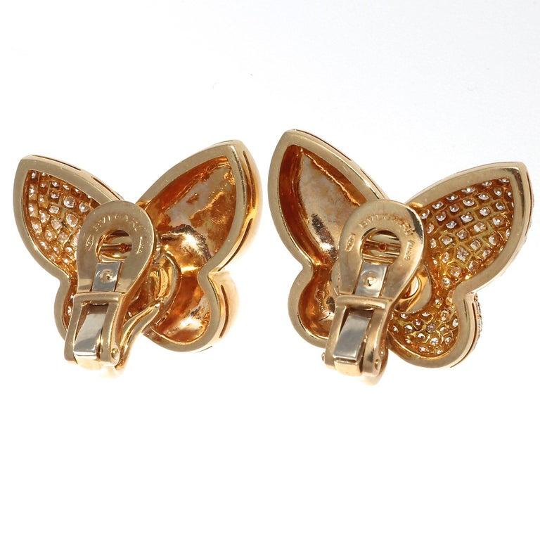 Round Cut Bulgari Diamond Gold Butterfly Earrings For Sale
