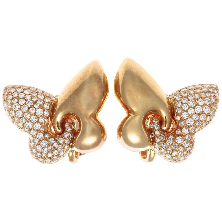 Bulgari Diamond Gold Butterfly Earrings For Sale