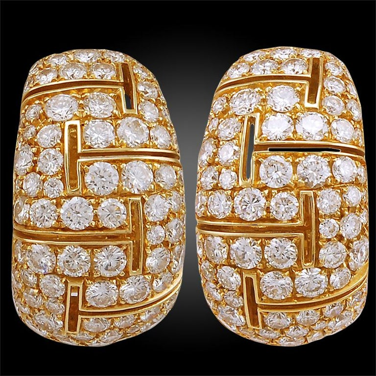 Bulgari Diamond Gold Earrings In Good Condition For Sale In New York, NY