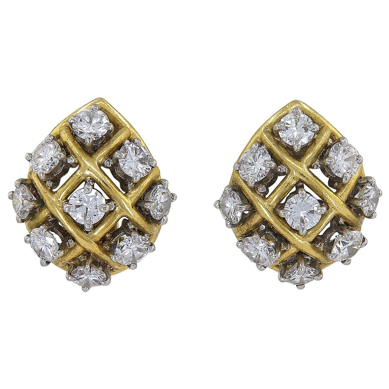 Bulgari Diamond Gold Platinum Earrings