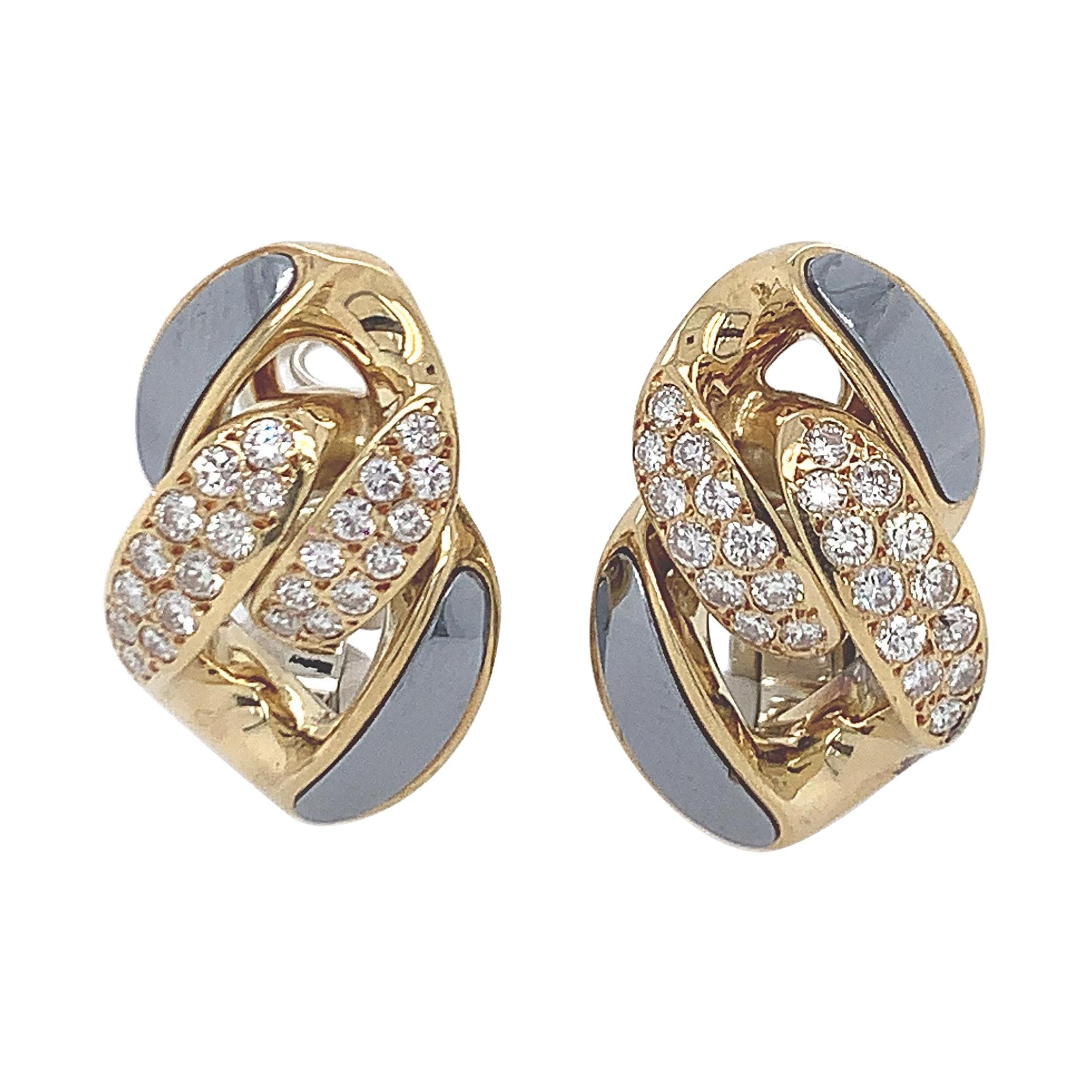 Bulgari Diamond Hematite Earclips