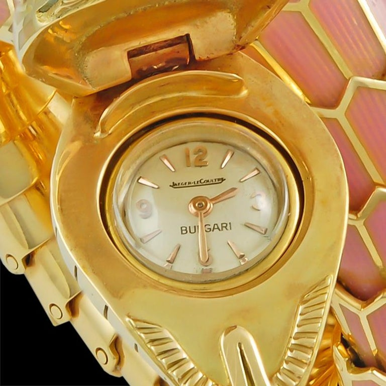 Women's Bulgari Diamond, Mauve Pink Enamel Serpenti Watch For Sale