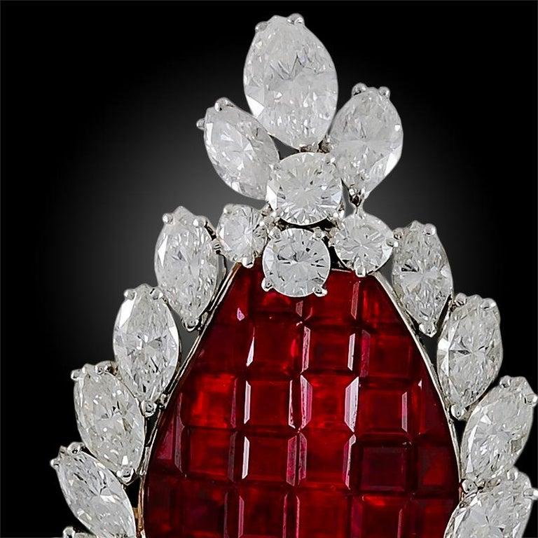 Round Cut Bulgari Diamond, Mystery-Set Ruby Brooch For Sale