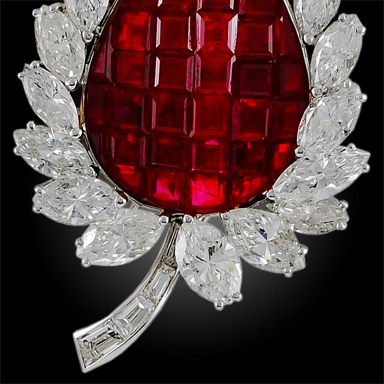 Bulgari Diamond, Mystery-Set Ruby Brooch In Good Condition For Sale In New York, NY
