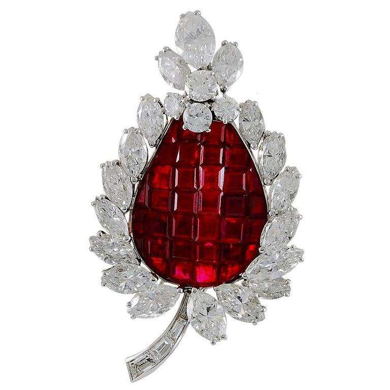 Bulgari Diamond, Mystery-Set Ruby Brooch For Sale