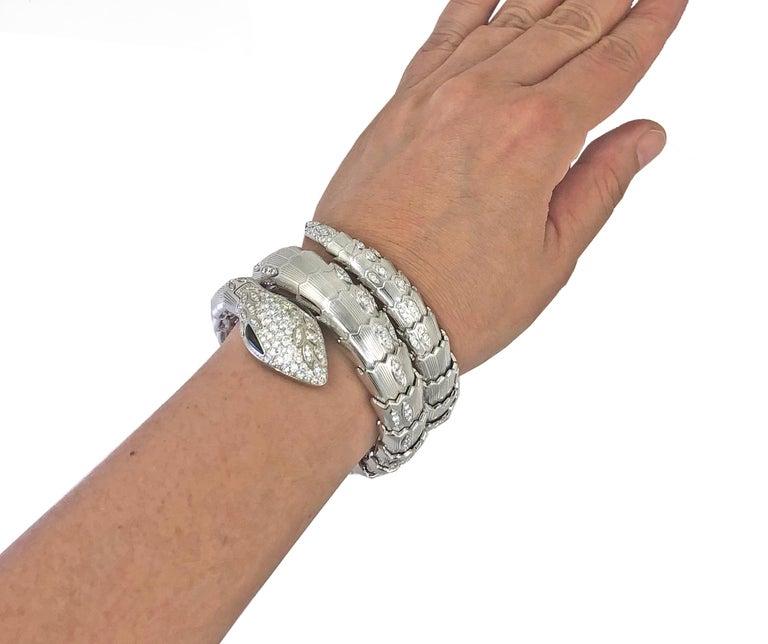Women's Bulgari Diamond Onyx Serpenti Watch For Sale