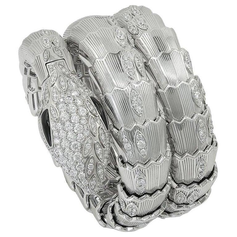 Bulgari Diamond Onyx Serpenti Watch For Sale