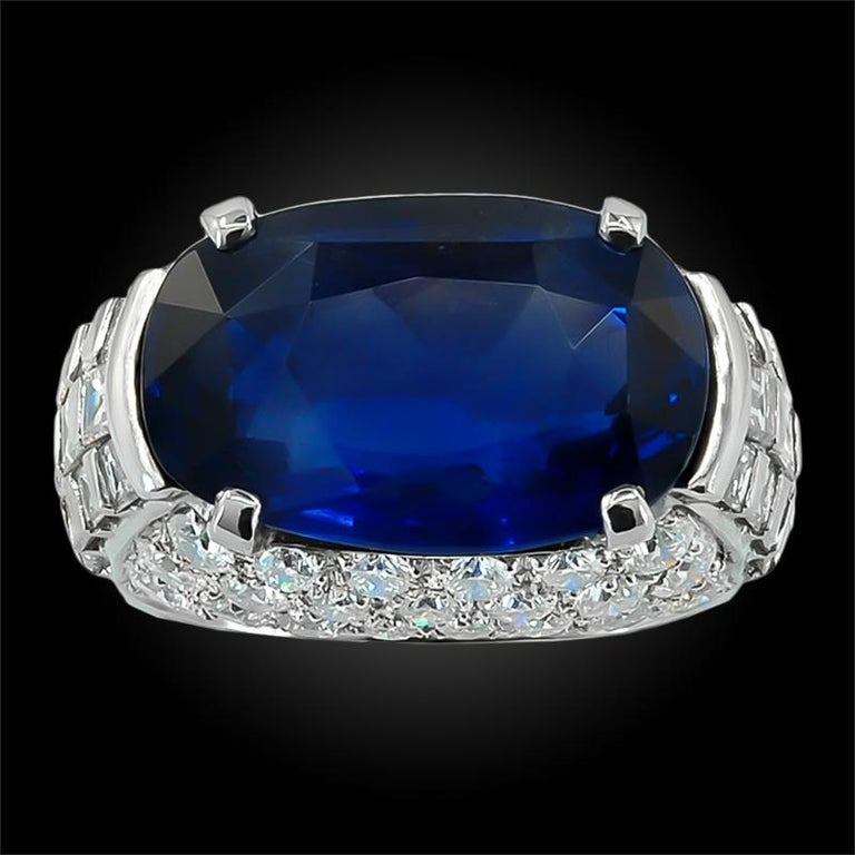 Oval Cut Bulgari Diamond, Oval-Shaped Burma No Heat Sapphire Ring For Sale